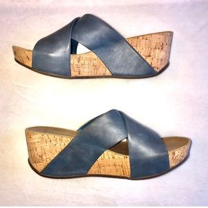 Chocolat Blu Blue Leather Cork Wedge Sandals